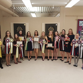 The Trevella equestrian horse riding team displaying their prizes from the annual Norhern Equestrian Circuit Banquet held in Greater Sudbury